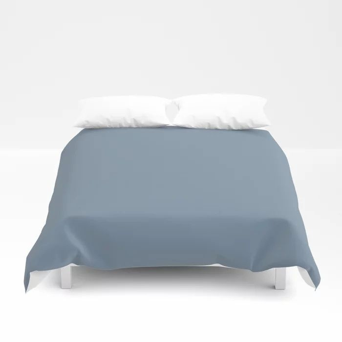 Dark Pastel Blue Solid Color Pairs To Behr's 2021 Trending Color Jean Jacket Blue S510-4 Duvet Cover