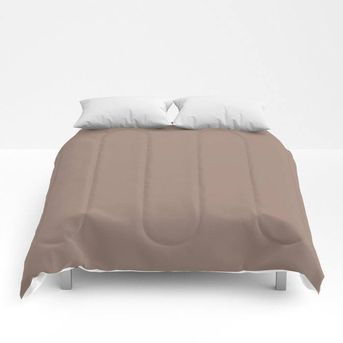 Dark Taupe Brown Solid Color Pairs To Behr's 2021 Trending Color Modern Mocha N150-4 Comforters