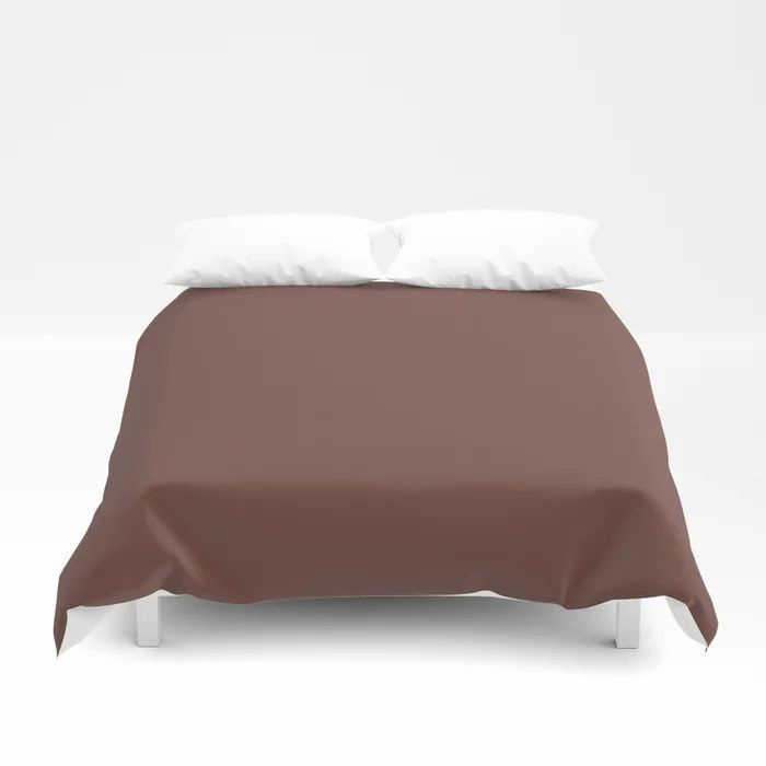 Dark Wine Solid Color Pairs Farrow and Ball 2021 Color of the Year Deep Reddish Brown No.W101 Duvet Cover
