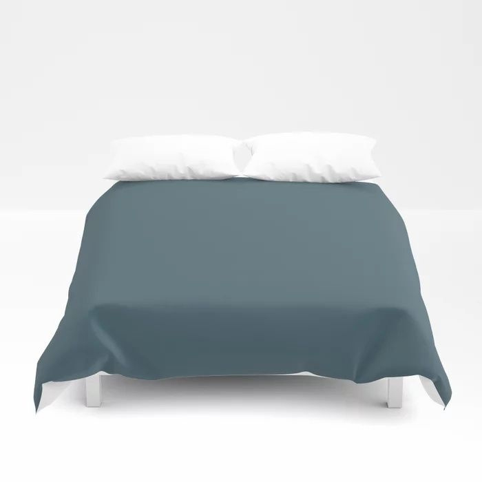 Deep Aquamarine Blue-Green Solid Color Pairs Farrow & Ball 2021 Color of the Year Stiffkey Blue 281 Duvet Cover