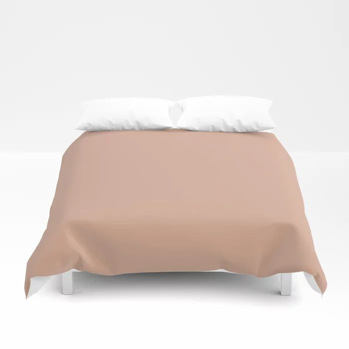 Just Peachy Solid Color Pairs To Valspars 2021 Color of the Year Arizona Dust 2003-8A Duvet Cover