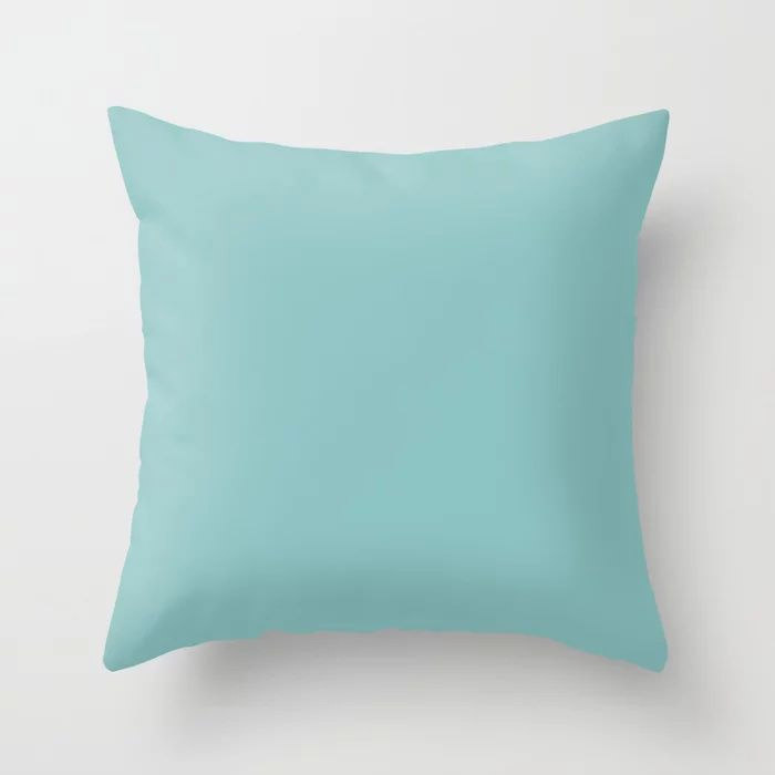 Mediterranean Breeze Aquamarine Solid Color Pairs To PPG 2021 Trending Hue Aqua Fiesta PPG1147-4 Throw Pillow