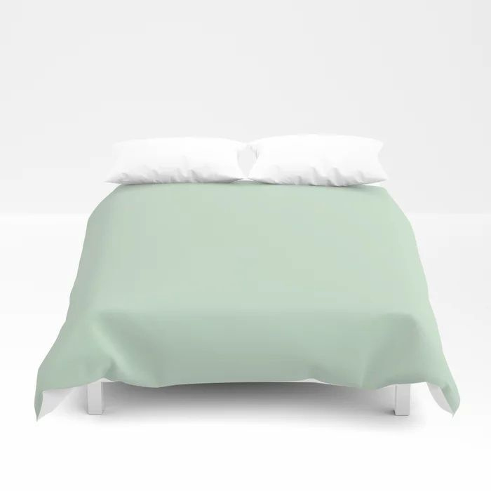 Minty Fresh Green Solid Color Pairs To Behr's 2021 trending color Wishful Green M410-2 Duvet Cover