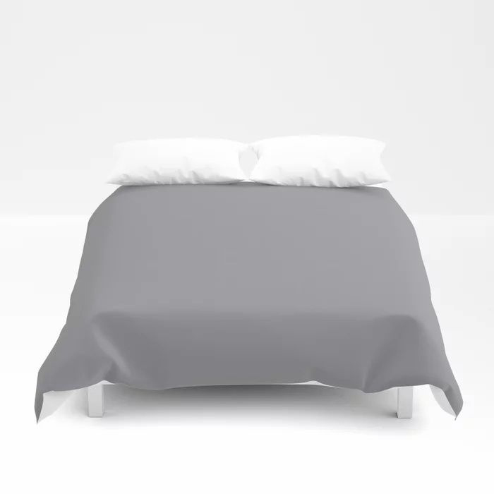 Modern Steel Gray Solid Color Pairs Pantone's 2021 Color of the Year Ultimate Gray 17-5104 Duvet Cover