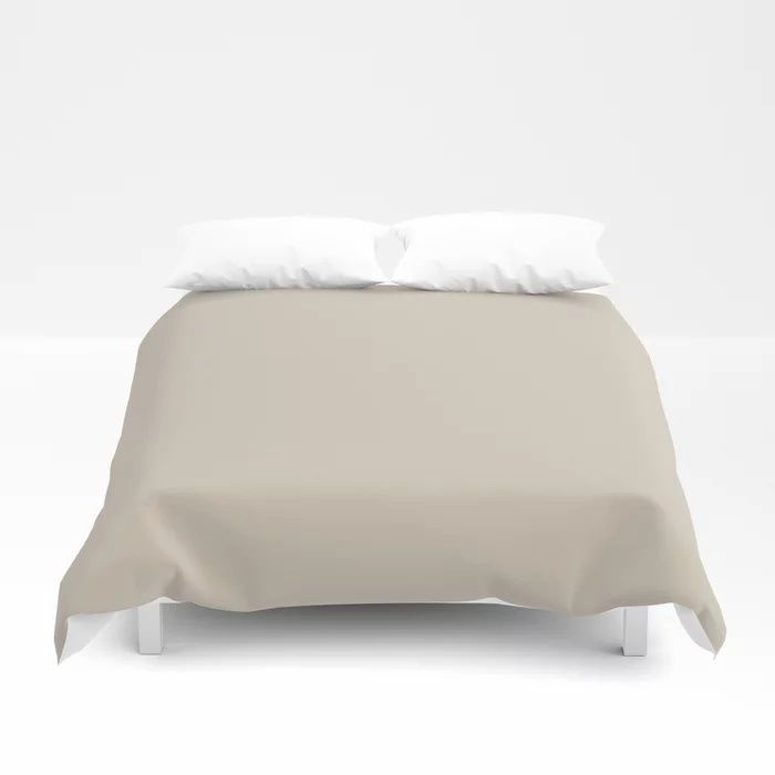 Pale Taupe Solid Color Pairs To Behr's 2021 Trending Color Almond Wisp PPU5-12 Duvet Cover
