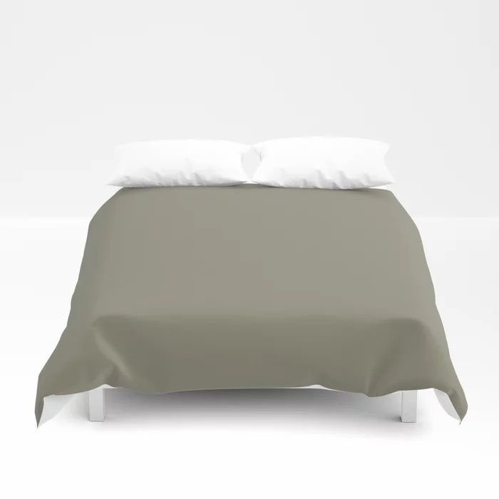 Pigeon Gray Green Solid Color Pairs Farrow and Ball 2021 Color of the Year Treron 292 Duvet Cover