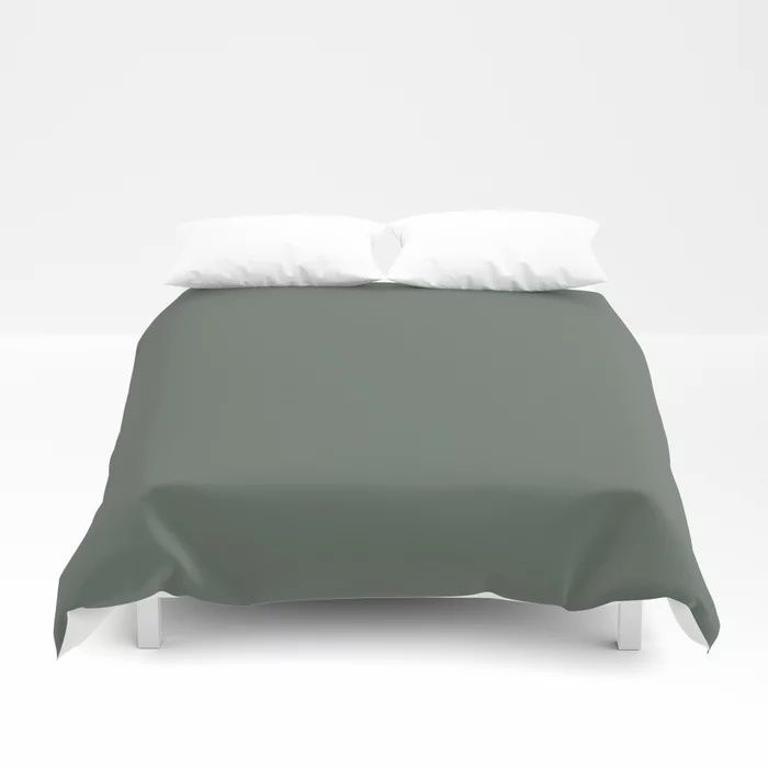 Rustic Forest Green Solid Color Pairs Farrow and Ball 2021 Color of the Year Green Smoke 47 Duvet Cover