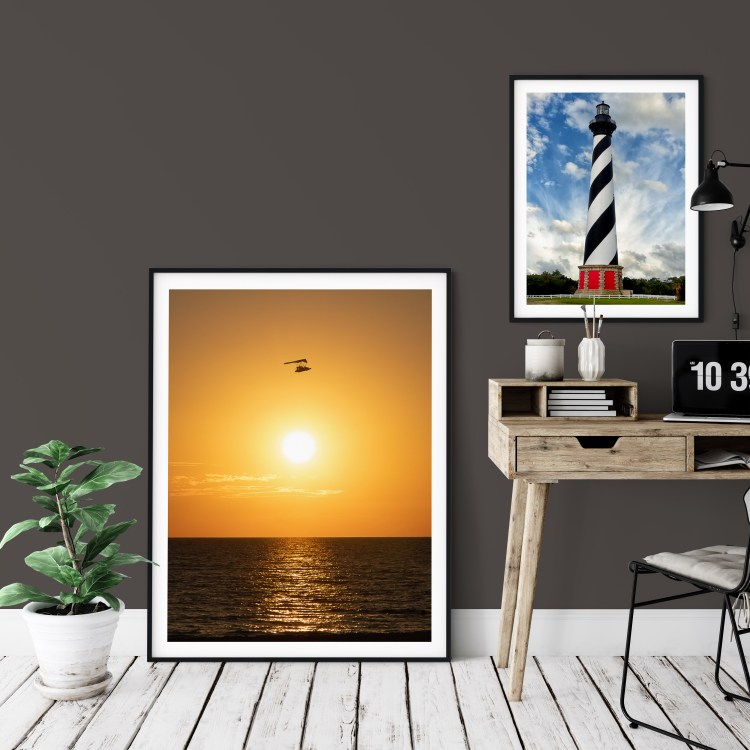 Showing: Sherwin Williams Paint 2021 Color of the Year Urbane Bronze SW 7048 (brown) and Accent Shades plus featured art by Melissa Fague PI Photography and Fine Art Flying High (Left) and Cape Hatteras Lighthouse (right)