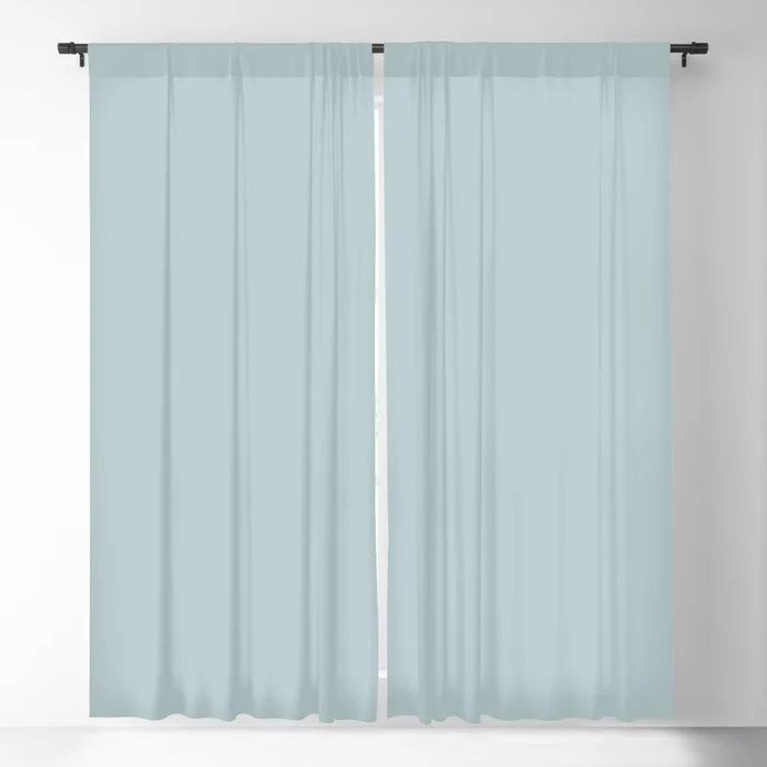 Soft Pastel Blue Solid Color Pairs To Behr's 2021 Trending Color Dayflower MQ3-54 Blackout Curtain