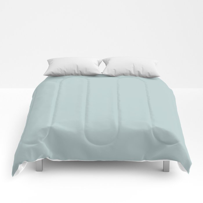Soft Pastel Blue Solid Color Pairs To Behr's 2021 Trending Color Dayflower MQ3-54 Comforters