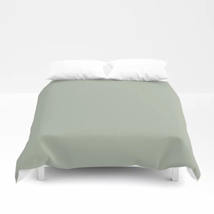 Soft Pastel Sage Green Gray Solid Color Pairs To Behr's 2021 Trending Color Jojoba N390-3 Duvet Cover