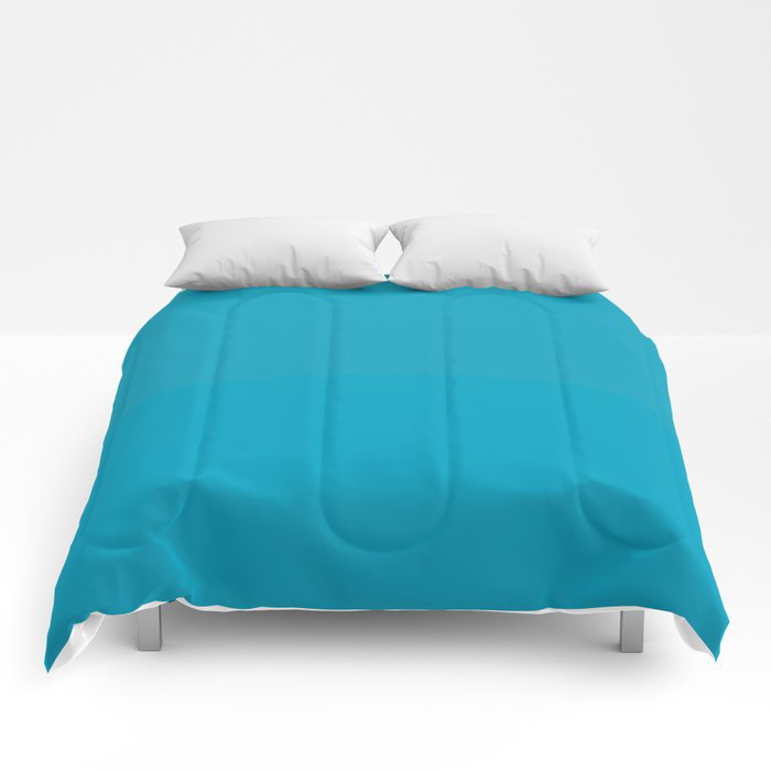Teal Turquoise Blue Green Solid Color Pairs to Coloro 2021 Trending Color AI Aqua 098-59-30 Comforters