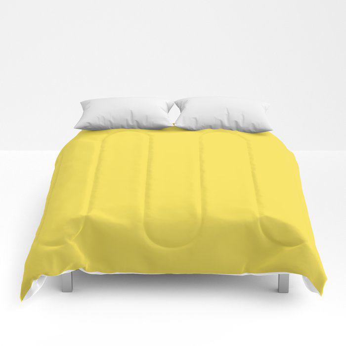 Vivid Yellow Solid Color Pairs Pantone 2021 Color of the Year Illuminating 13-0647 Comforters