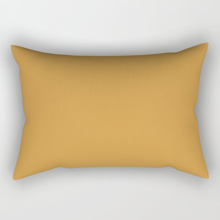 Cosy Deep Mustard Yellow Solid Color Pairs Farrow and Balls 2021 Color of the Year India Yellow 66 Rectangular Pillow
