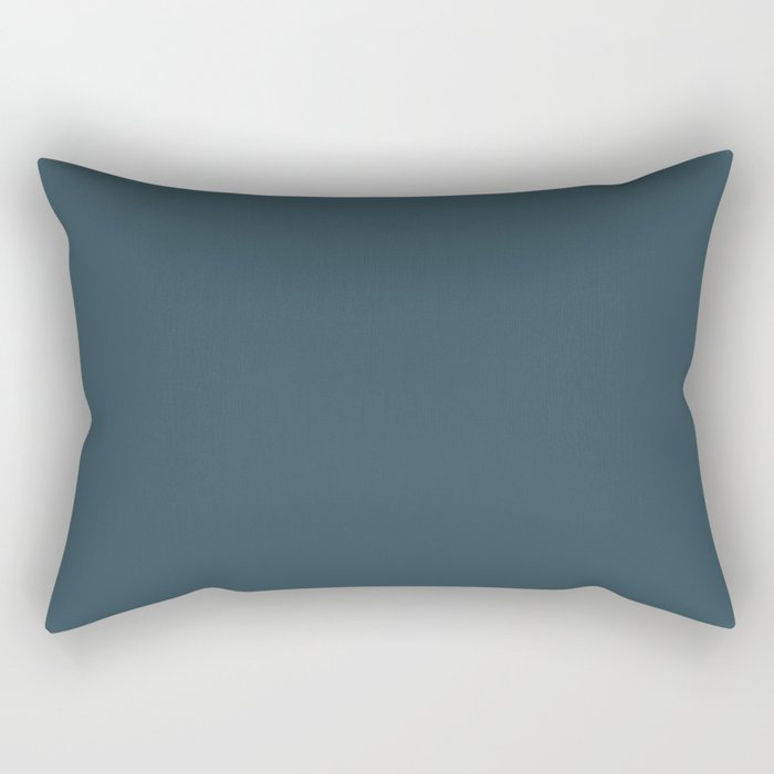 Dark Blue Grey Solid Color Pairs To Behr's 2021 Trending Color Nocturne Blue HDC-CL-28 Rectangular Pillow
