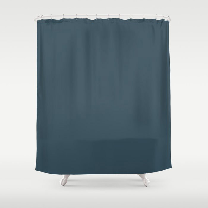 Dark Blue Grey Solid Color Pairs To Behr's 2021 Trending Color Nocturne Blue HDC-CL-28 Shower Curtain