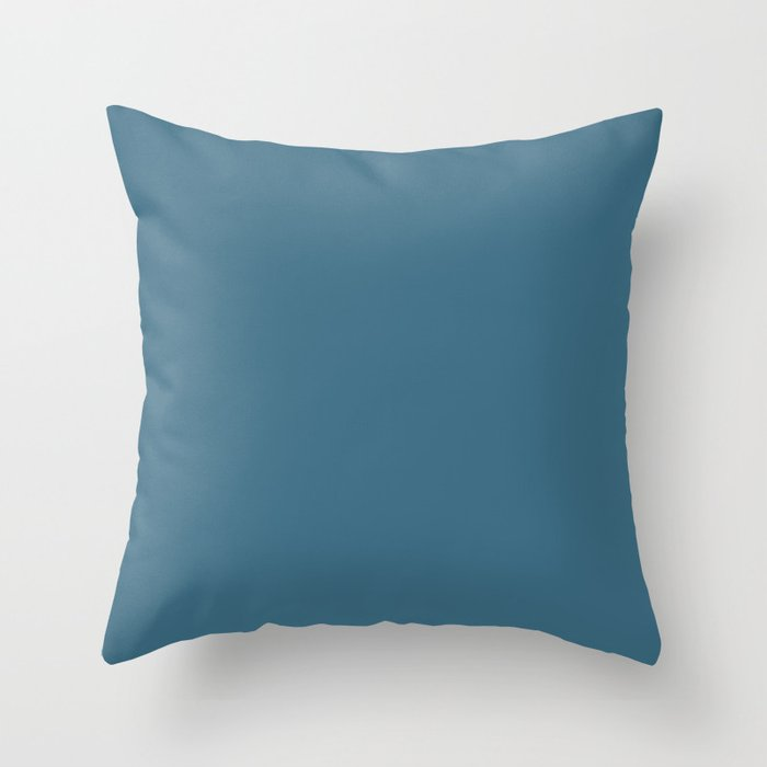 Dark Blue Solid Color Behr 2021 Color of the Year Accent Shade Bering Wave S490-6 Throw Pillow