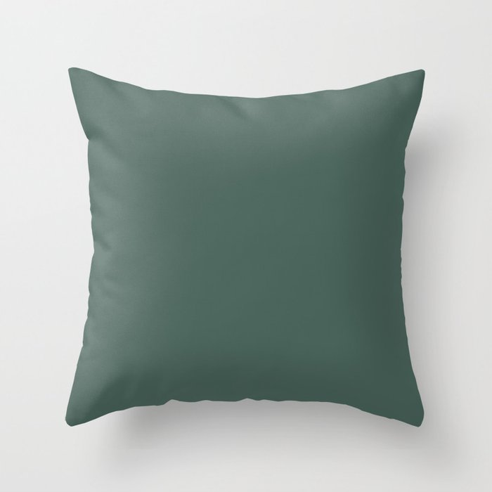 Dark Green Solid Color Behr 2021 color of the Year Accent Shade Equilibrium T18-20 Throw Pillow
