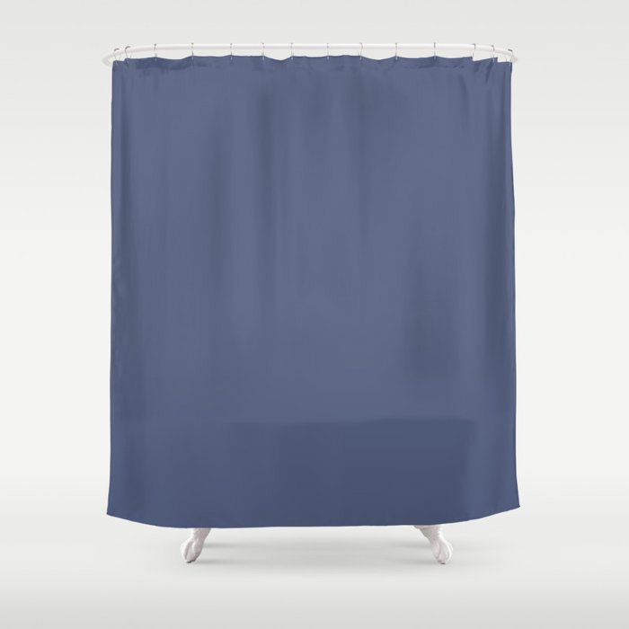 Dark Night Blue Solid Color Pairs Farrow and Ball 2021 Color of the Year Pitch Blue No.220 Shower Curtain