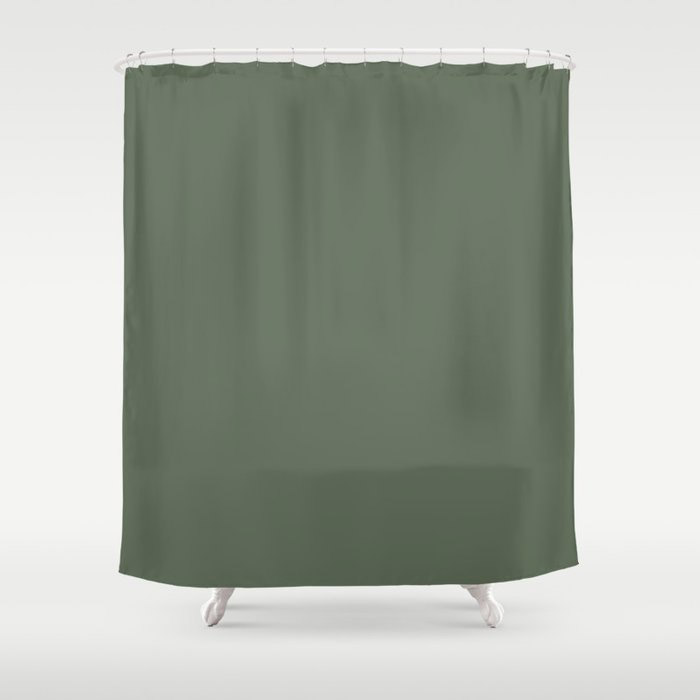 Dark Olive Green Solid Color Behr's 2021 Trending Color Royal Orchard PPU11-01 Shower Curtain