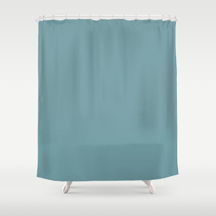 Dark Pastel Blue Gray Solid Color Behr's 2021 Trending Color Voyage PPU13-07 Shower Curtain