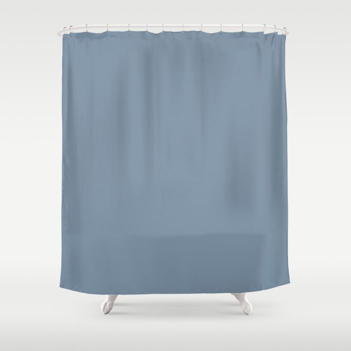 Dark Pastel Blue Solid Color Pairs To Behr's 2021 Trending Color Jean Jacket Blue S510-4 Shower Curtain