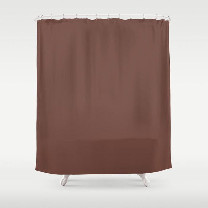 Dark Wine Solid Color Pairs Farrow and Ball 2021 Color of the Year Deep Reddish Brown No.W101 Shower Curtain