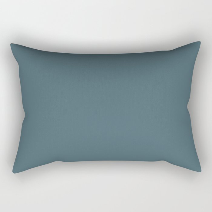 Deep Aquamarine Blue-Green Solid Color Pairs Farrow & Ball 2021 Color of the Year Stiffkey Blue 281 Rectangular Pillow
