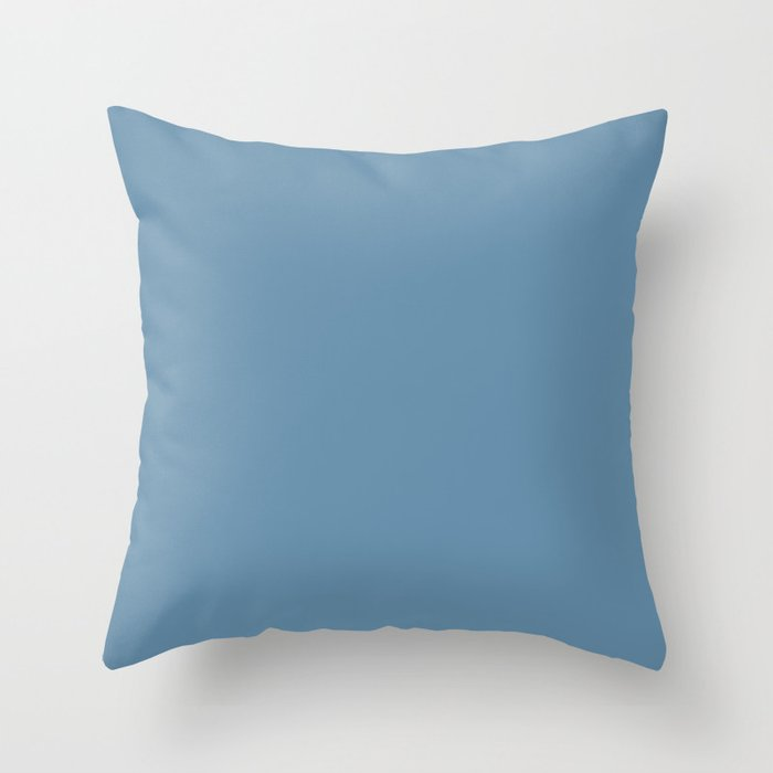 Mid-tone Blue Solid Color Behr 2021 Color of the Year Accent Shade Treasure Map S500-5 Throw Pillow