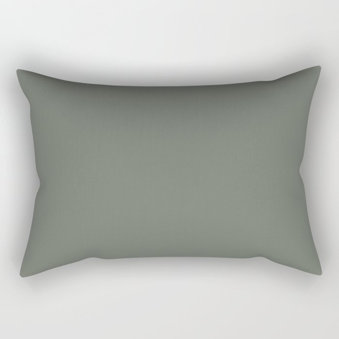 Rich and Moody Green Solid Color Pairs To Pratt & Lambert 2021 Color of the Year Contemplative 420F Rectangular Pillow