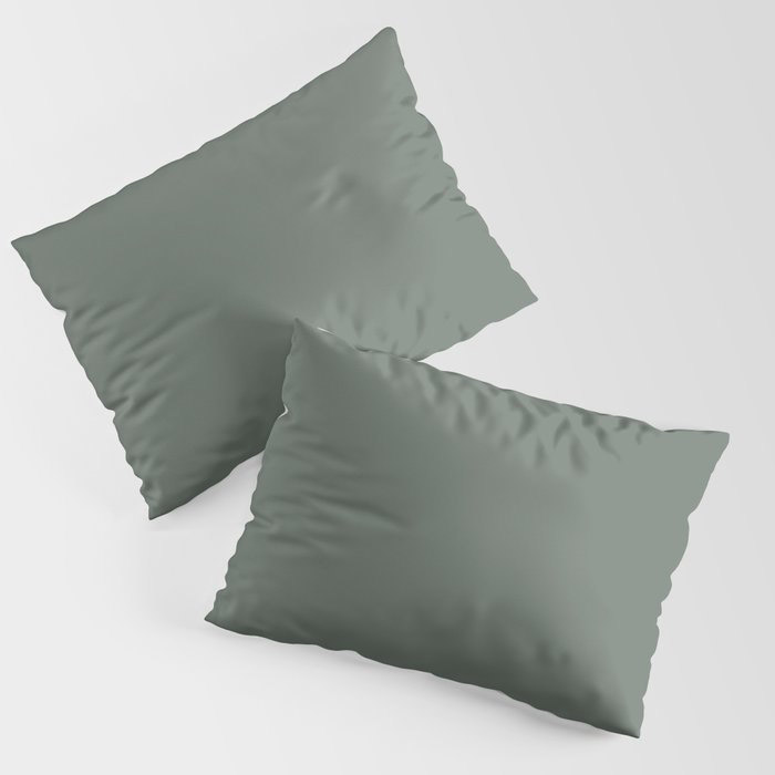 Rustic Forest Green Solid Color Pairs Farrow and Ball 2021 Color of the Year Green Smoke 47 Pillow Sham