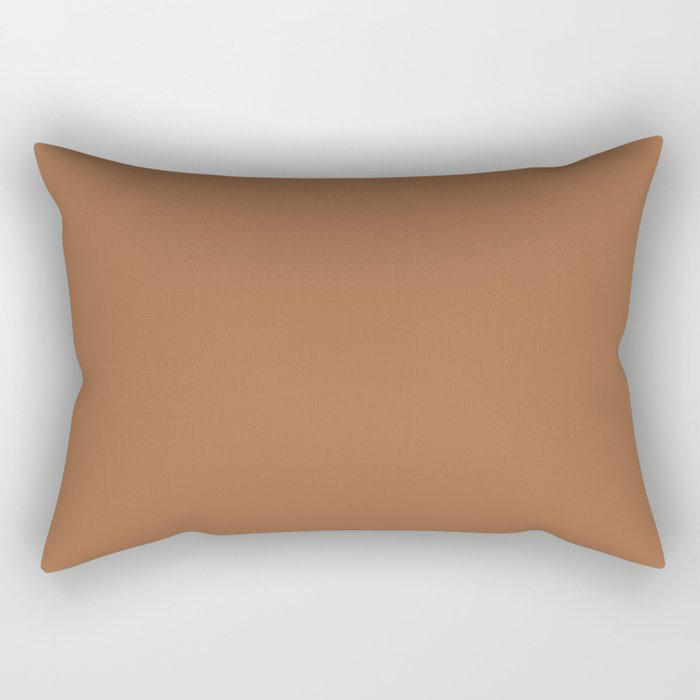 Rusty Mid-tone Brown Solid Color Pairs Behr's 2021 Trending Color Maple Glaze PPU3-16 Rectangular Pillow