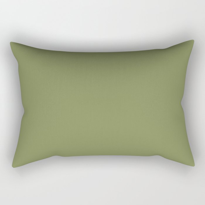 Summer Exploration Green Solid Color Pairs Farrow and Ball 2021 Color of the Year Sap Green W56 Rectangular Pillow