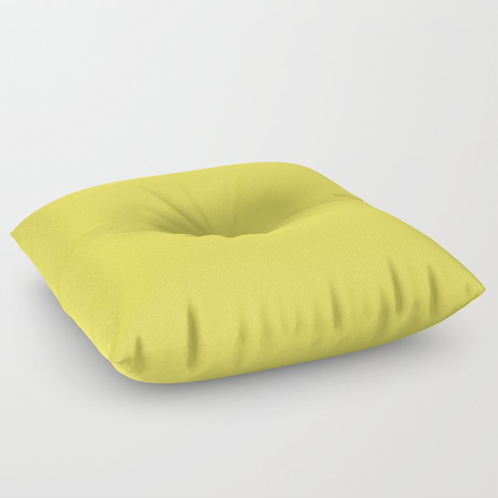 Vivid Yellow Solid Color Pairs Pantone 2021 Color of the Year Illuminating 13-0647 Floor Pillow