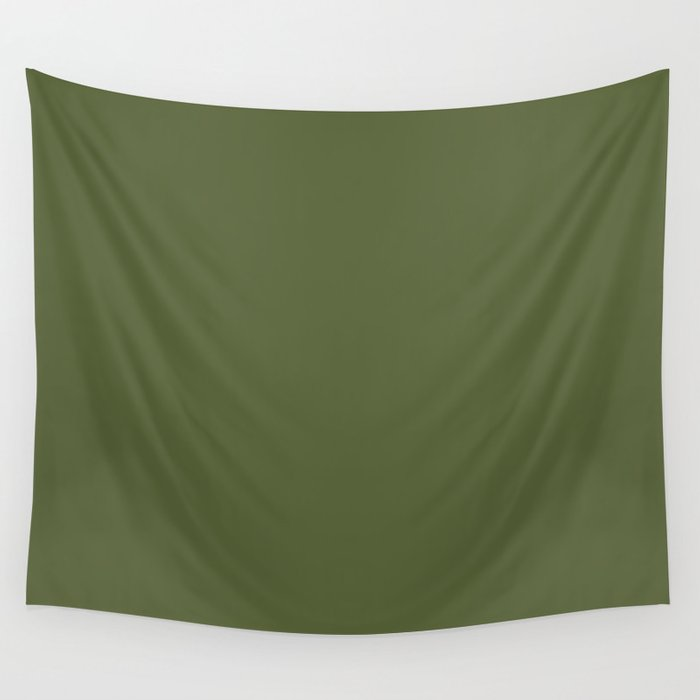 Dark Olive Green Solid Color Pairs To Sherwin Williams Inverness SW 6433 Wall Tapestry