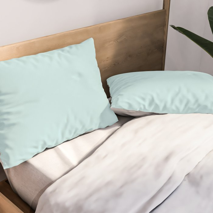 Ultra Light Pastel Aquamarine Blue Green Solid Color Pairs To Sherwin Williams Swimming SW 6764 2021 Pillow Sham