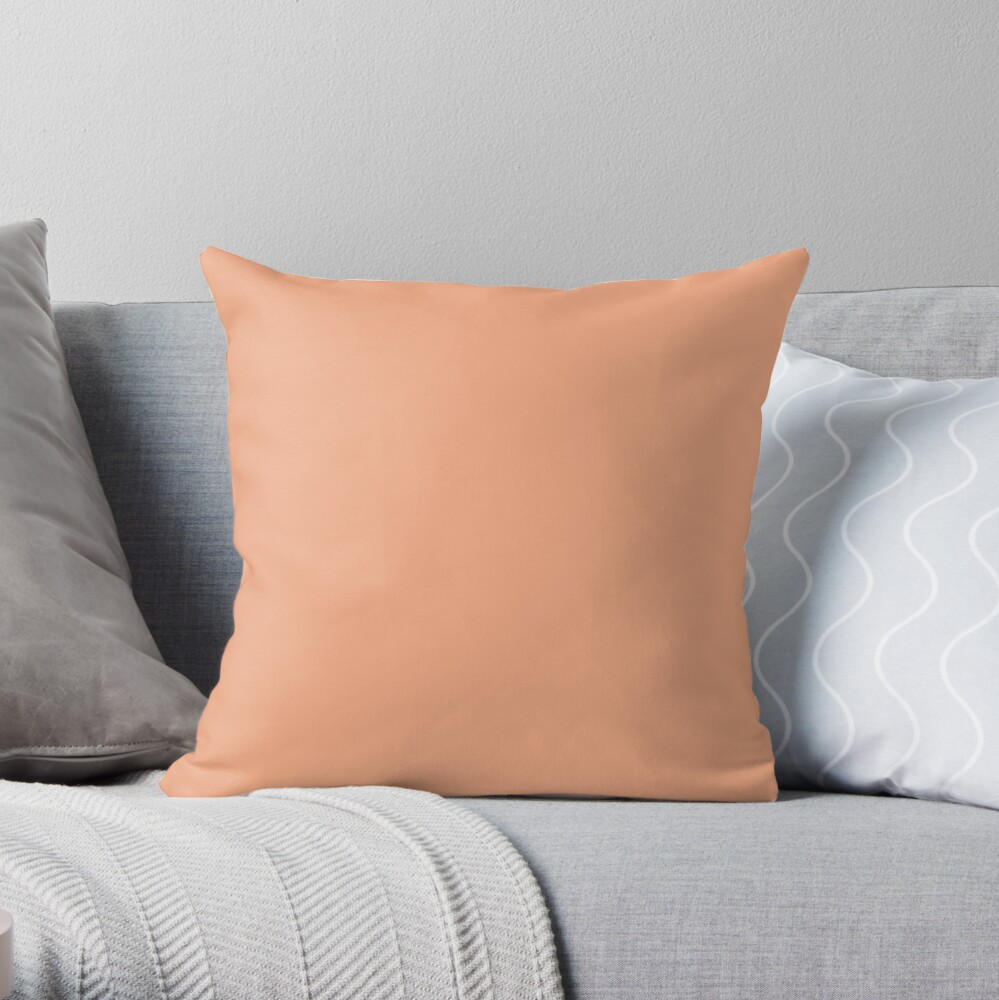 Best Seller Colors of Autumn Light Apricot Orange Single Solid Color - Accent Shade / Hue / Colour Throw Pillow