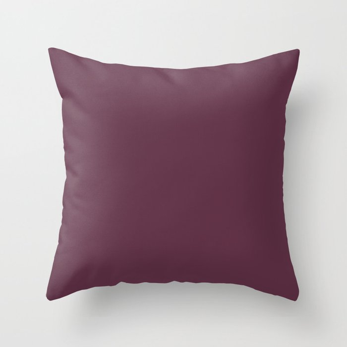Dark Purple Solid Color 2022 Spring Summer Trending Hue Coloro Beetroot 152-25-17 Throw Pillow