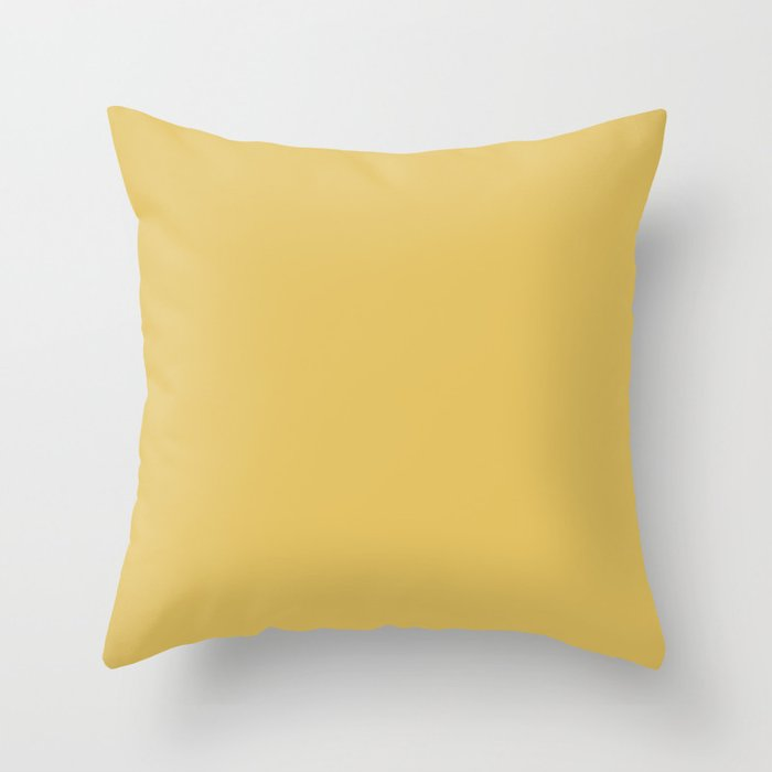 Golden Yellow Solid Hue - 2022 Color - Shade Pairs Dunn and Edwards Candelabra DE5431 Throw Pillow