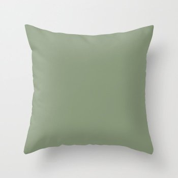 Lush Garden Green Solid Color Pairs Behr 2022 Trending Hue - Shade - Laurel Tree S390-5 Throw Pillow