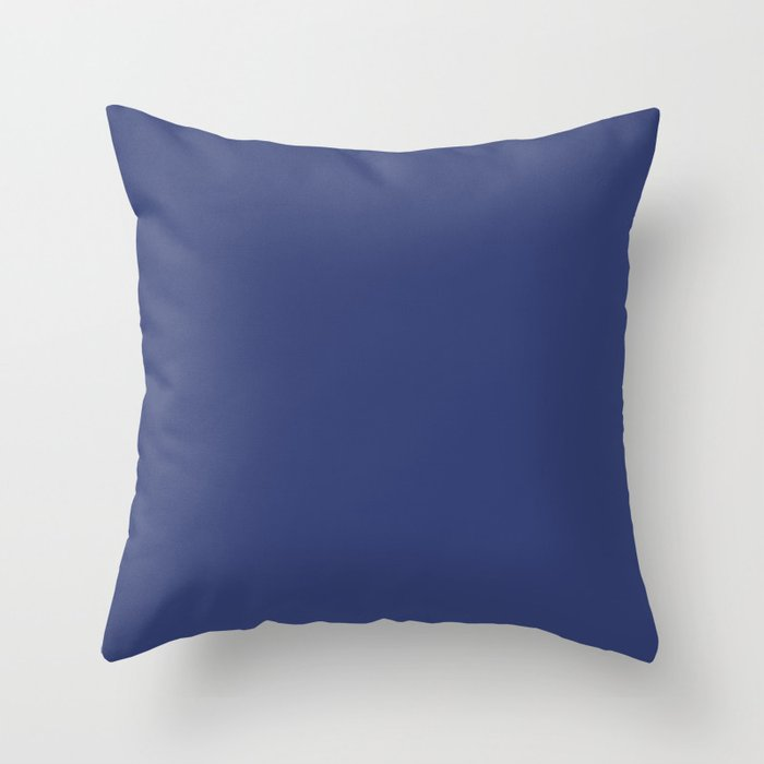 Mid-tone Blue Solid Color 2022 Spring Summer Trending Hue Coloro Azurite 126-29-25 Throw Pillow