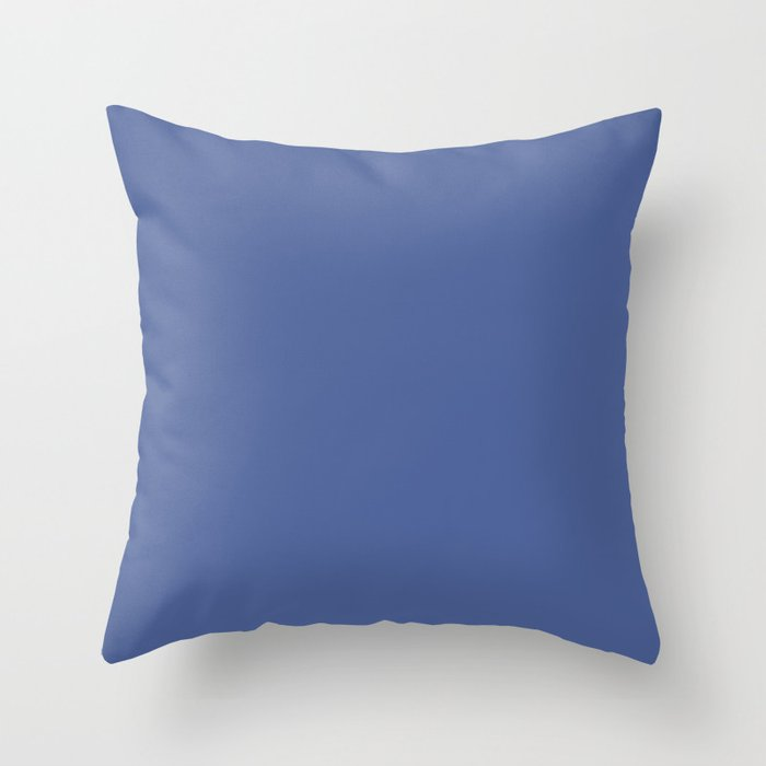 Mid-tone Blue Solid Color 2022 Spring Summer Trending Hue Coloro Daylight Blue 123-41-23 Throw Pillow