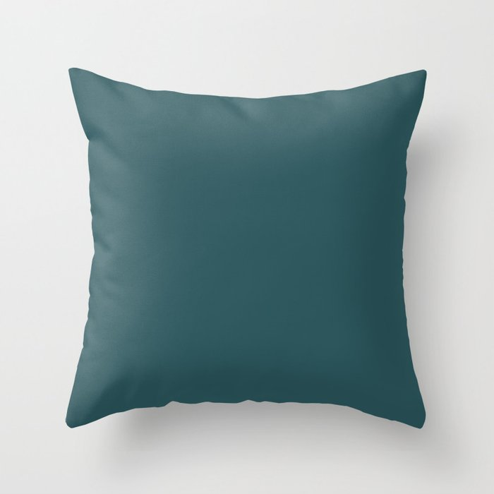 Nautical Teal Solid Color Pairs Behr 2022 Trending Hue - Shade - Ocean Abyss MQ6-01 Throw Pillow