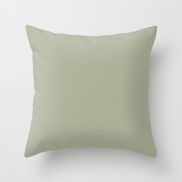Soft Sage Green Solid Color Pairs w/ PPG Glidden 2022 Color of the Year Olive Sprig PPG1125-4 Throw Pillow