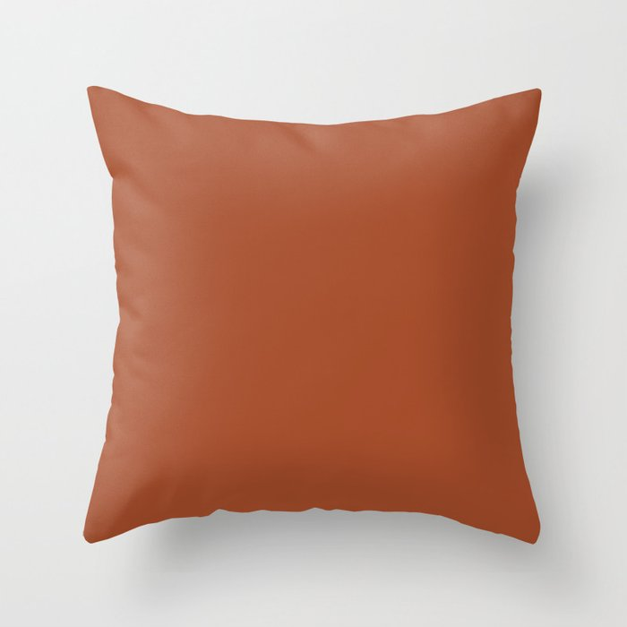 Warm Dark Brown Clay Solid Color 2022 S S Trending Hue Coloro Ginger Biscuit 022-40-26 Throw Pillow