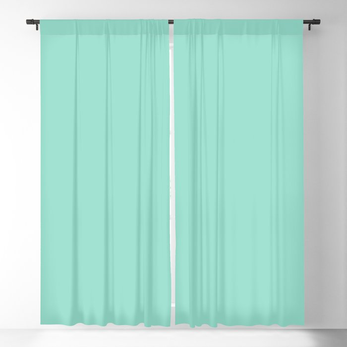 Beach Glass Green-Blue Solid Color PANTONE 13-5412 2022 Summer Trending Shade - Hue - Colour Blackout Curtain