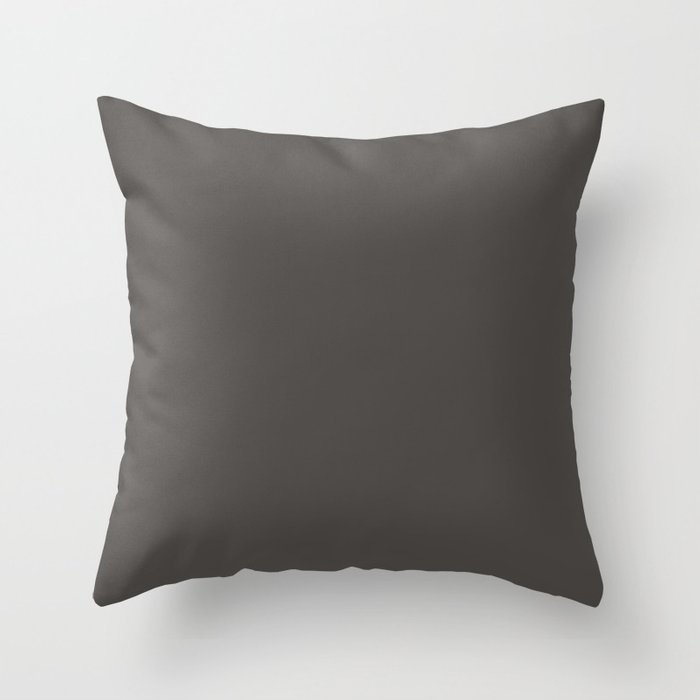 Charcoal Brown Solid Color Pairs Valspars 2022 Color of the Year Fired Earth 6011-1 Throw Pillow
