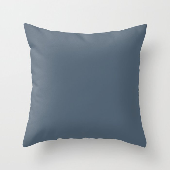 Dark Blue Solid Color Pairs Valspars 2022 Color of the Year Mountain River 4005-6C Throw Pillow
