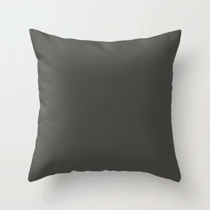 Dark Gray / Grey Solid Color 2022 Trending Hue Sherwin Williams Iron Ore SW 7069 Throw Pillow