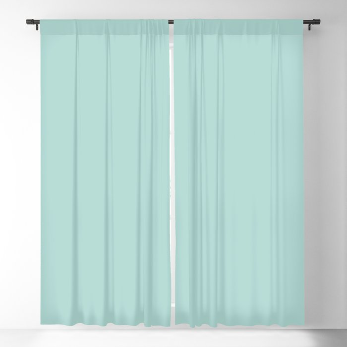 Oceanic Pastel Blue-Green Solid Color Pairs Behr 2022 Trending Hue - Shade - Wave Top M450-3 Blackout Curtain